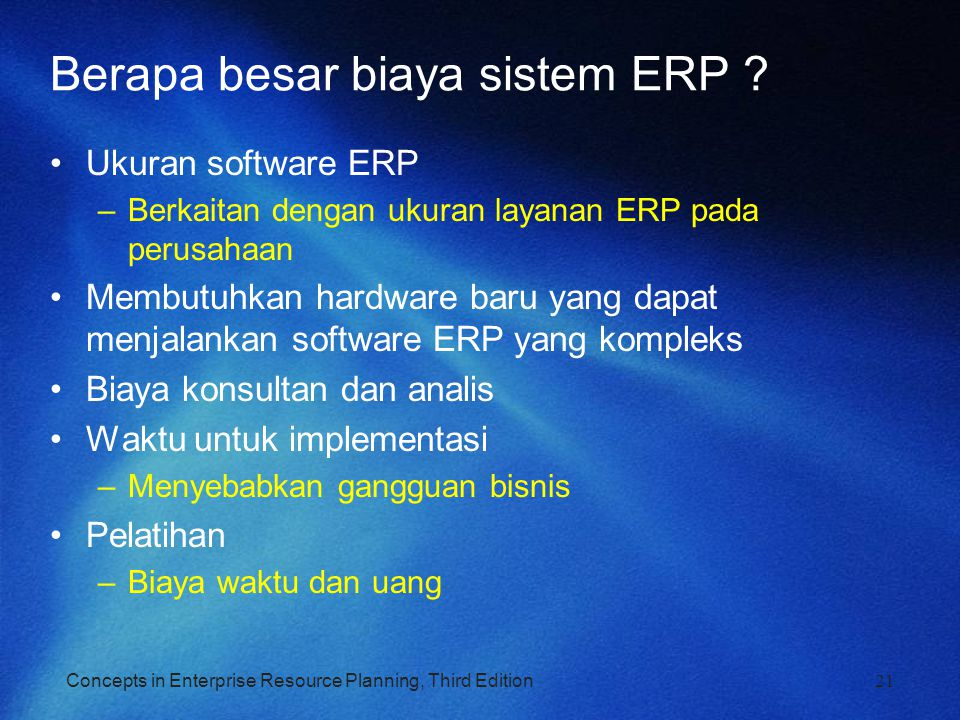 Berapa besar biaya sistem ERP