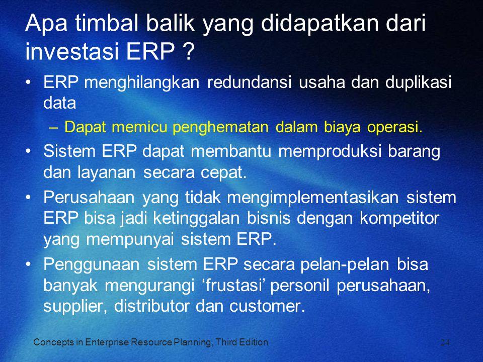 Apa timbal balik yang didapatkan dari investasi ERP