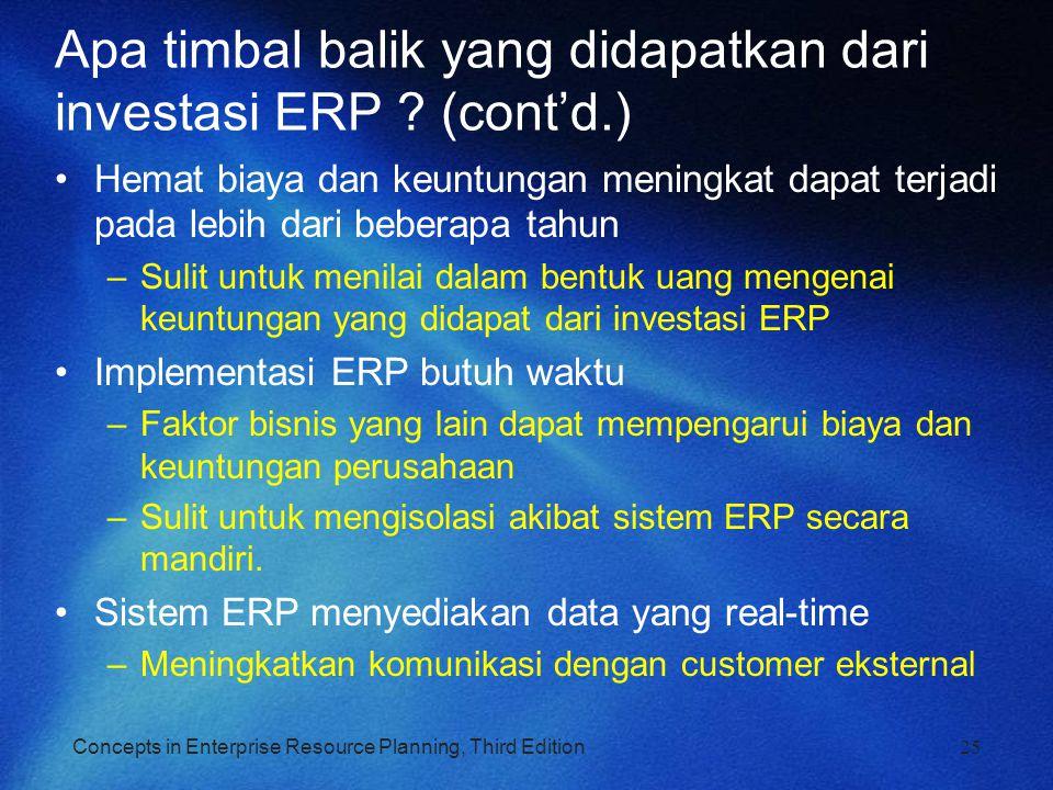 Apa timbal balik yang didapatkan dari investasi ERP (cont'd.)