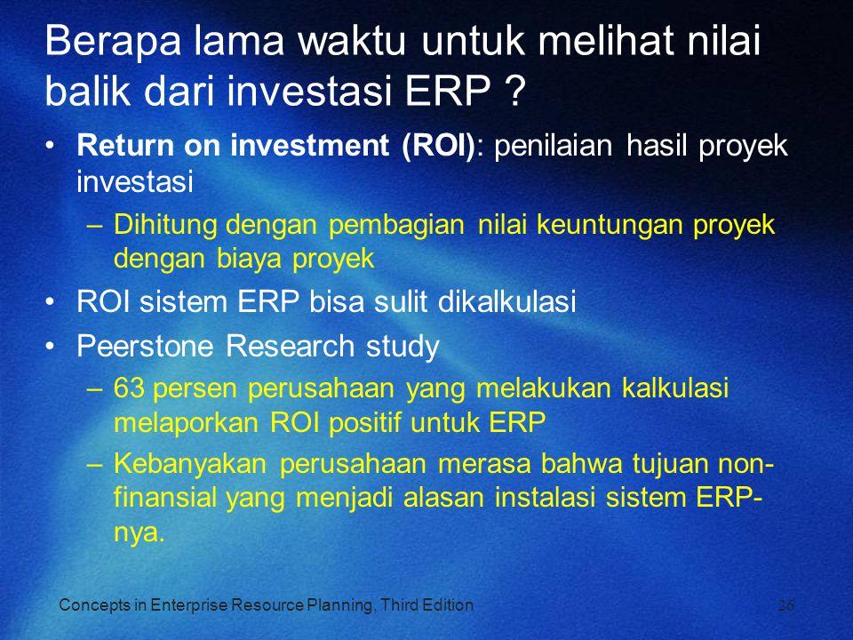 Berapa lama waktu untuk melihat nilai balik dari investasi ERP