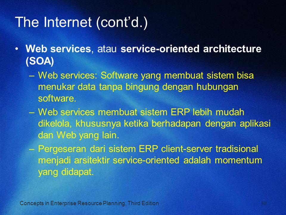 The Internet (cont'd.) Web services, atau service-oriented architecture (SOA)