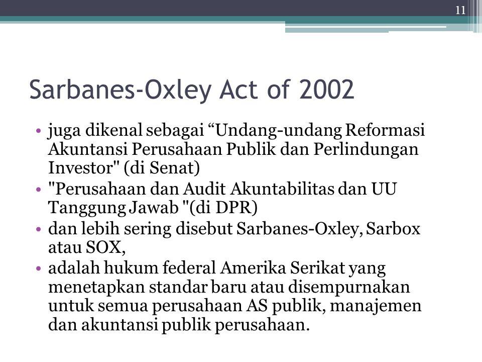 Sarbanes-Oxley Act of 2002 juga dikenal sebagai Undang-undang Reformasi Akuntansi Perusahaan Publik dan Perlindungan Investor (di Senat)