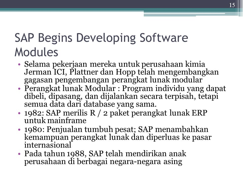 SAP Begins Developing Software Modules