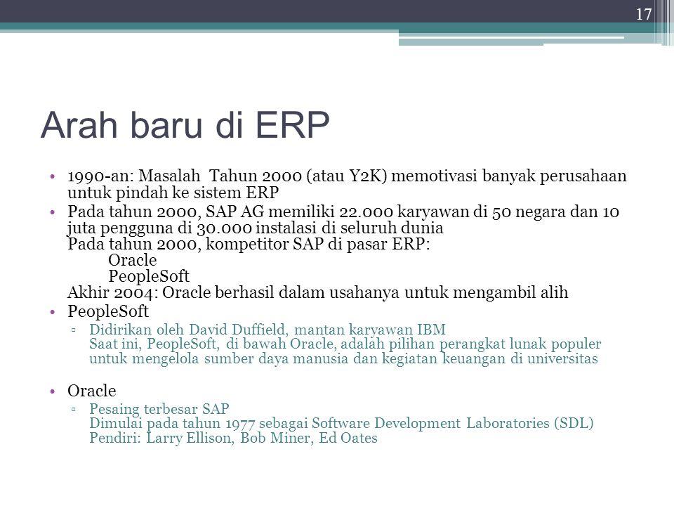 Arah baru di ERP 1990-an: Masalah Tahun 2000 (atau Y2K) memotivasi banyak perusahaan untuk pindah ke sistem ERP.