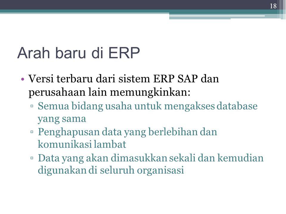 Arah baru di ERP Versi terbaru dari sistem ERP SAP dan perusahaan lain memungkinkan: Semua bidang usaha untuk mengakses database yang sama.