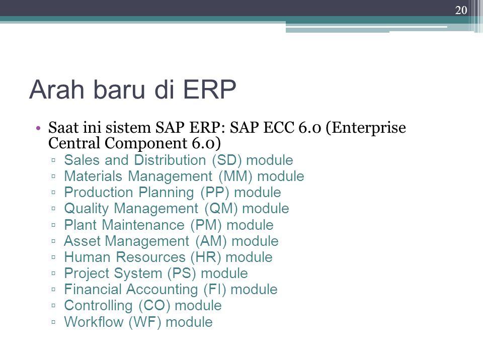 Arah baru di ERP Saat ini sistem SAP ERP: SAP ECC 6.0 (Enterprise Central Component 6.0) Sales and Distribution (SD) module.