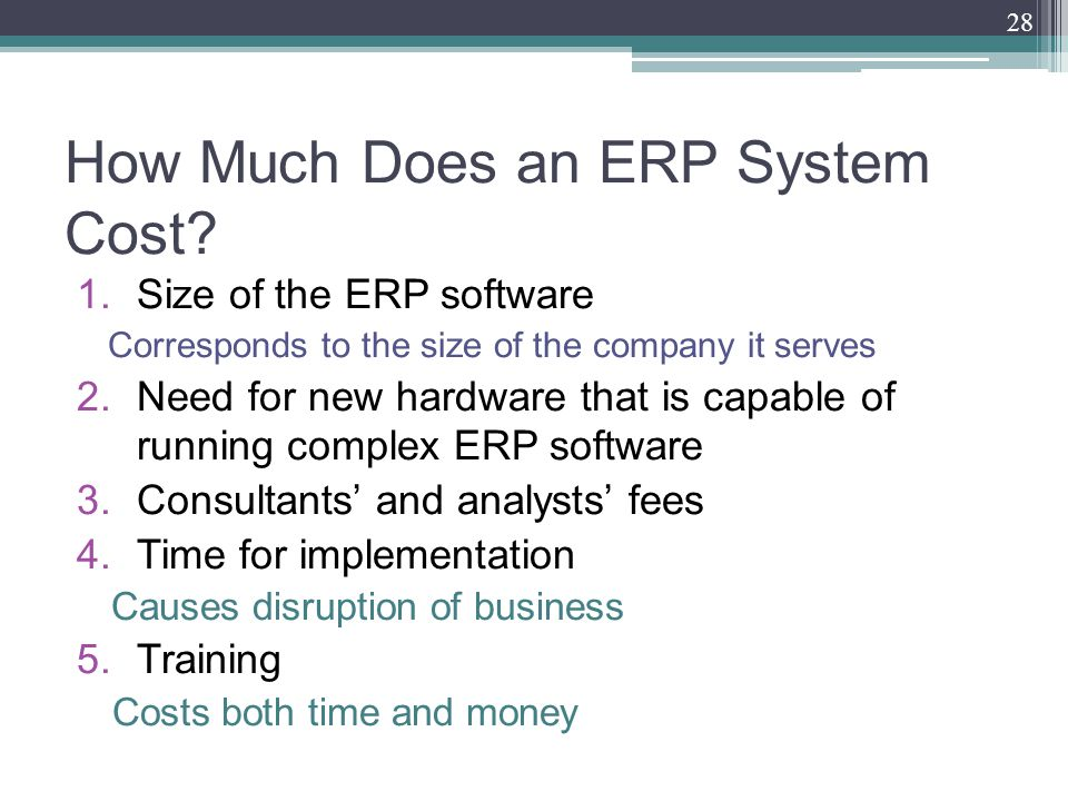 How Much Does an ERP System Cost