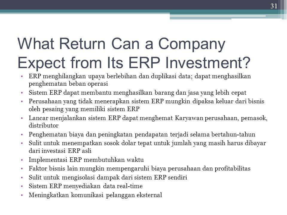 What Return Can a Company Expect from Its ERP Investment