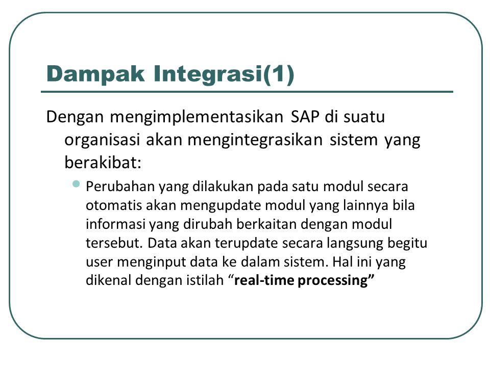 Dampak Integrasi(1) Dengan mengimplementasikan SAP di suatu organisasi akan mengintegrasikan sistem yang berakibat: