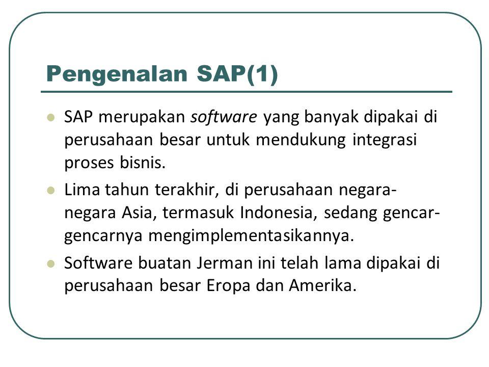 Pengenalan SAP(1) SAP merupakan software yang banyak dipakai di perusahaan besar untuk mendukung integrasi proses bisnis.