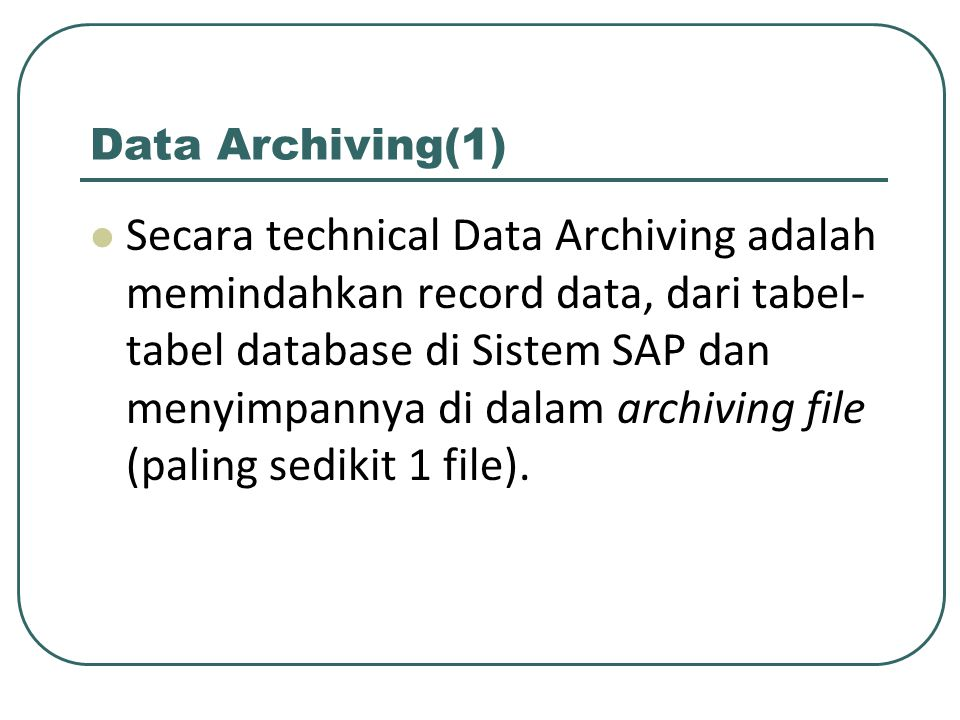 Data Archiving(1)