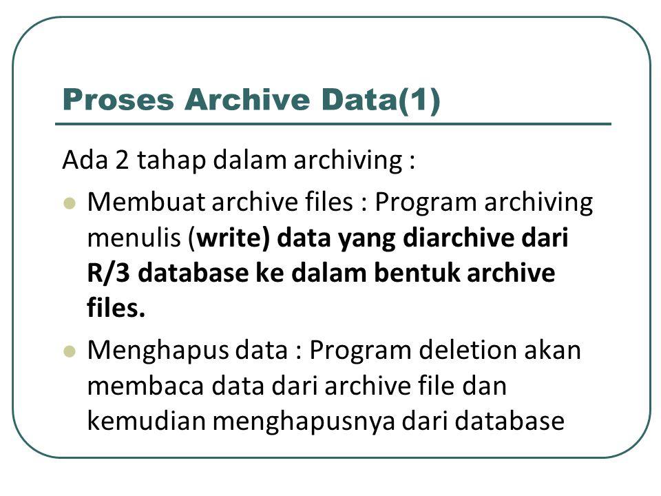 Proses Archive Data(1) Ada 2 tahap dalam archiving :