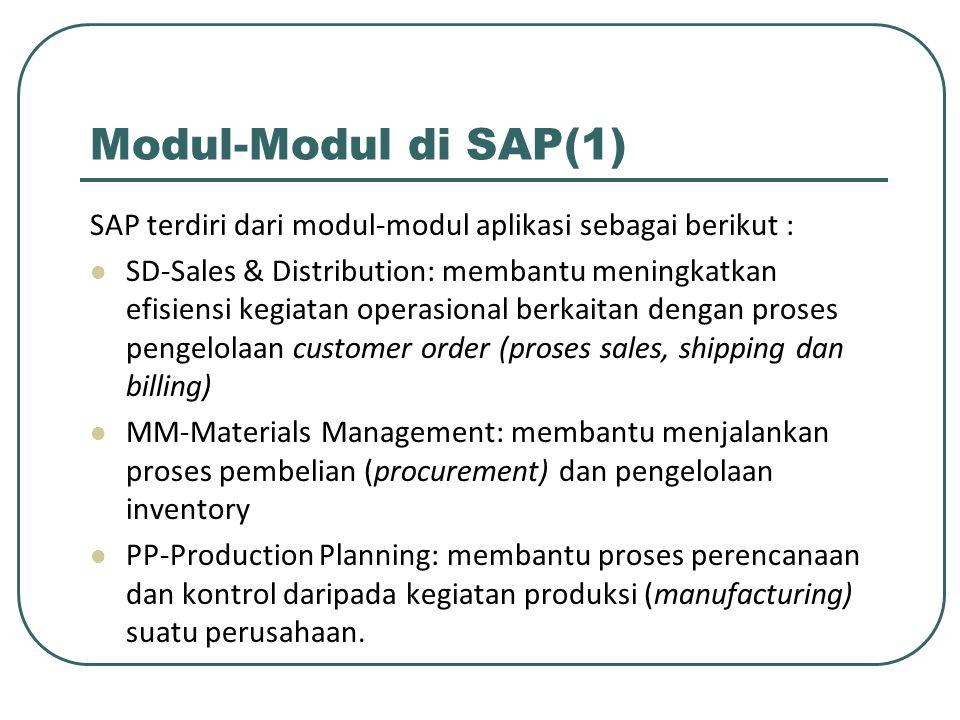 Modul-Modul di SAP(1) SAP terdiri dari modul-modul aplikasi sebagai berikut :