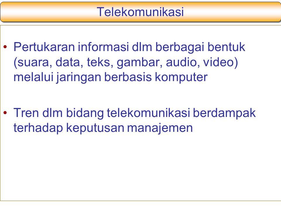 Telekomunikasi Pertukaran informasi dlm berbagai bentuk (suara, data, teks, gambar, audio, video) melalui jaringan berbasis komputer.