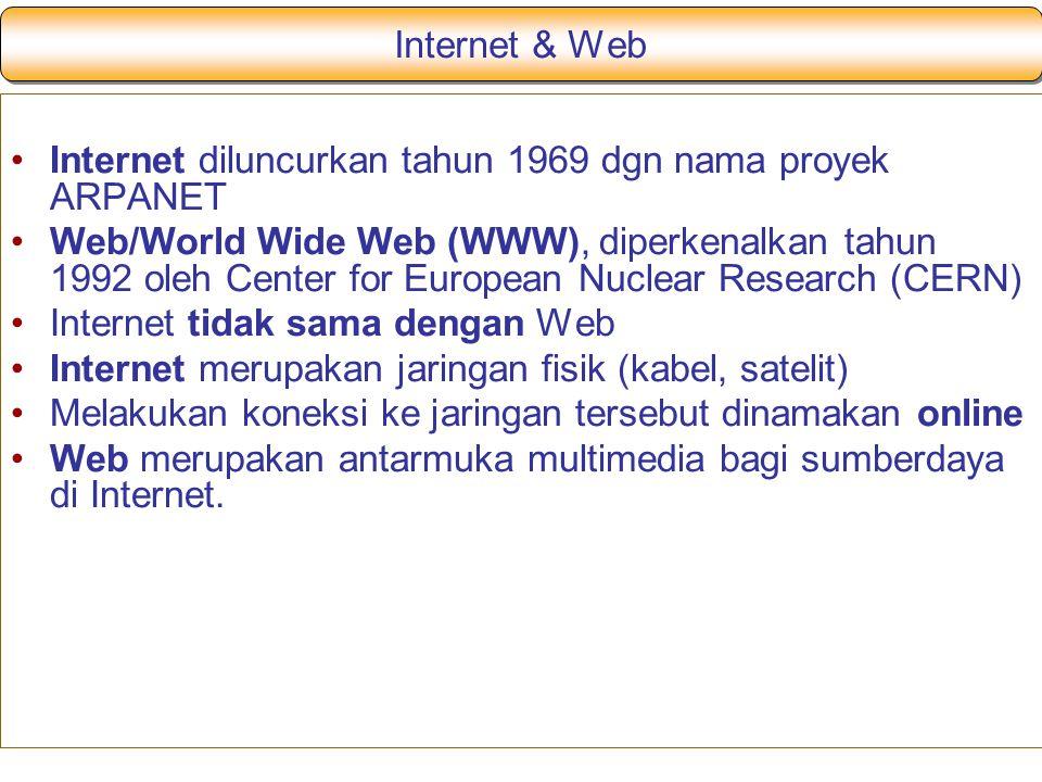 Internet & Web Internet diluncurkan tahun 1969 dgn nama proyek ARPANET.