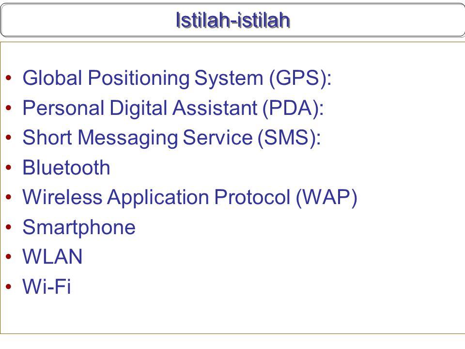 Istilah-istilah Global Positioning System (GPS): Personal Digital Assistant (PDA): Short Messaging Service (SMS):