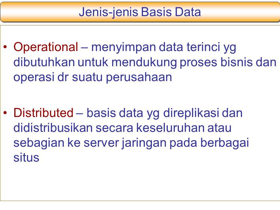 Jenis-jenis Basis Data
