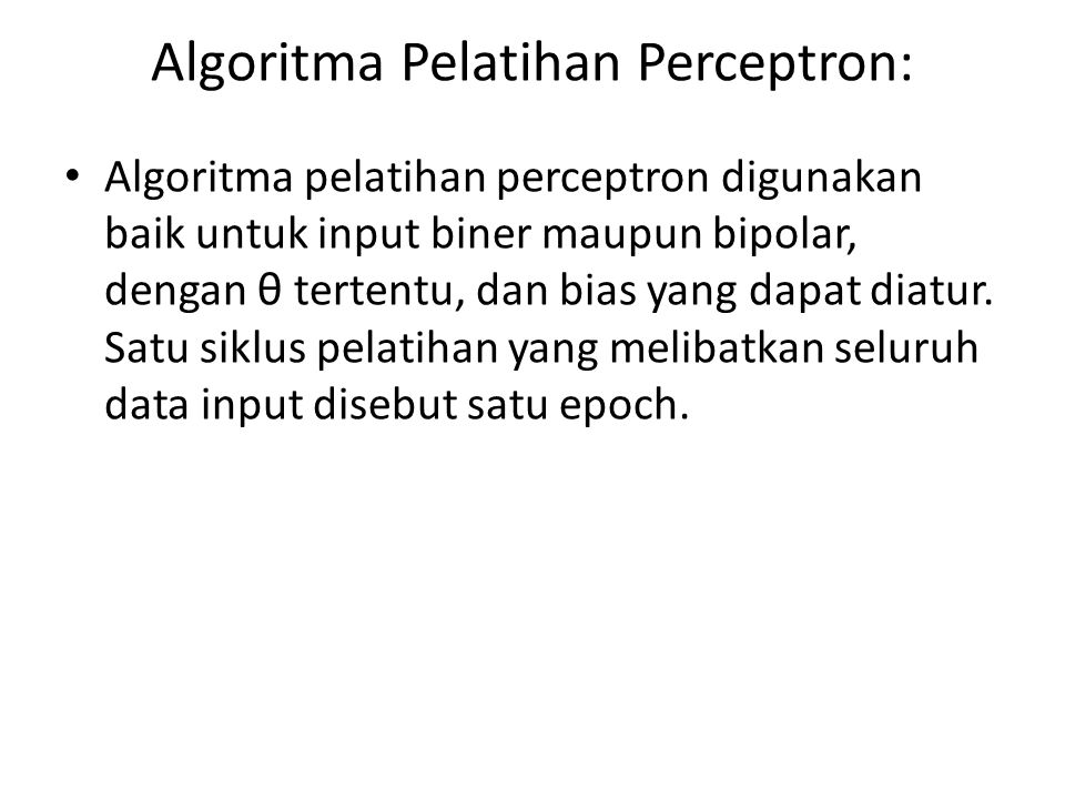 Algoritma Pelatihan Perceptron: