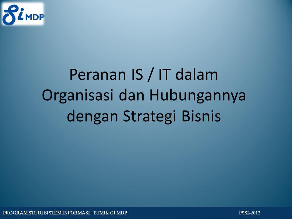 Peranan IS / IT dalam Organisasi dan Hubungannya dengan Strategi Bisnis