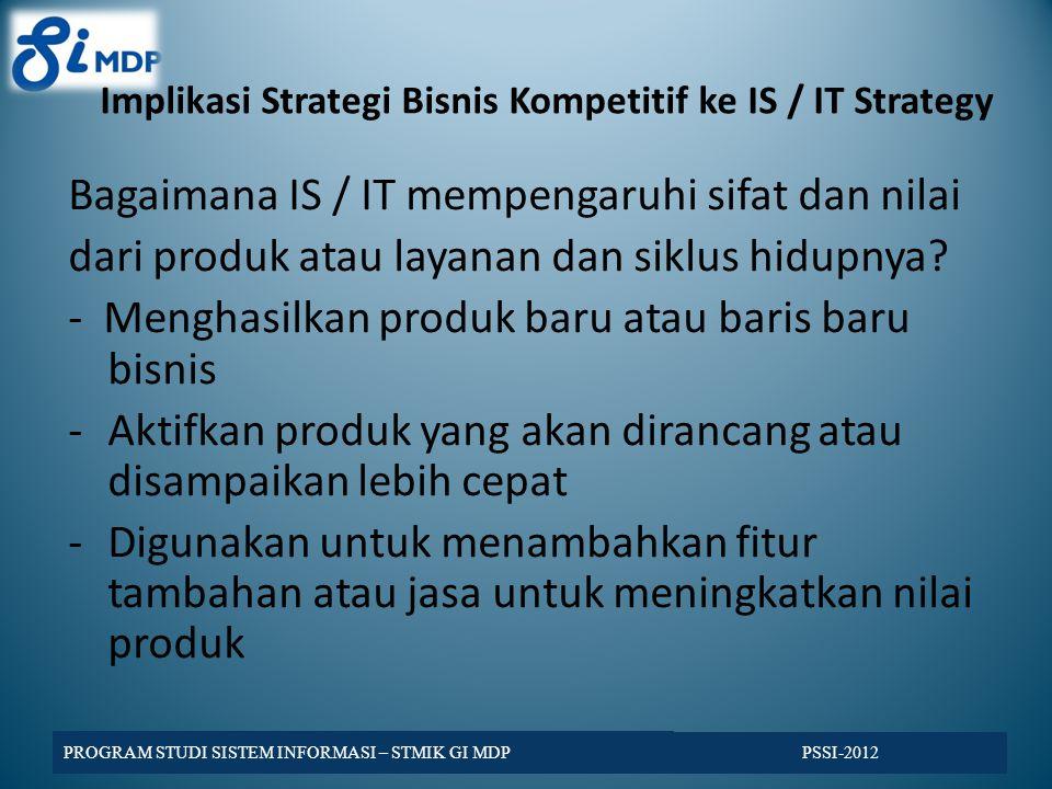 Implikasi Strategi Bisnis Kompetitif ke IS / IT Strategy