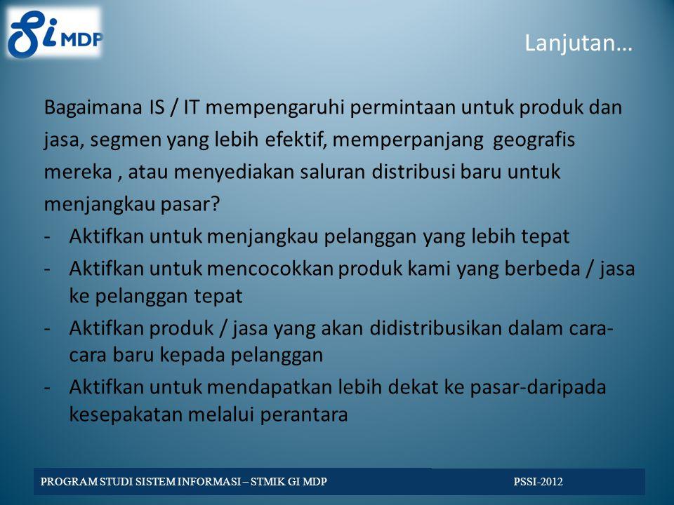 Lanjutan… Bagaimana IS / IT mempengaruhi permintaan untuk produk dan