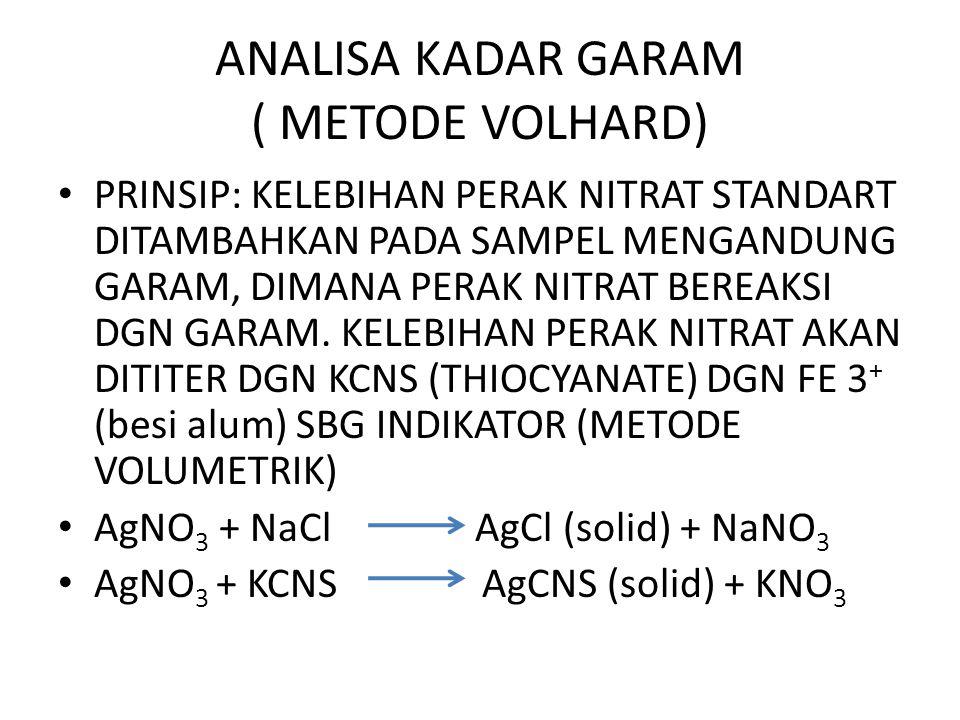 ANALISA KADAR GARAM ( METODE VOLHARD)