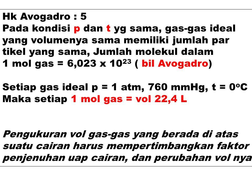 Hk Avogadro : 5 Pada kondisi p dan t yg sama, gas-gas ideal. yang volumenya sama memiliki jumlah par.