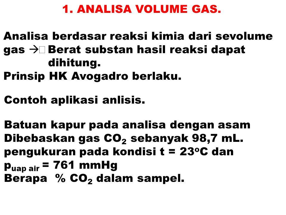 1. ANALISA VOLUME GAS. Analisa berdasar reaksi kimia dari sevolume gas Berat substan hasil reaksi dapat.