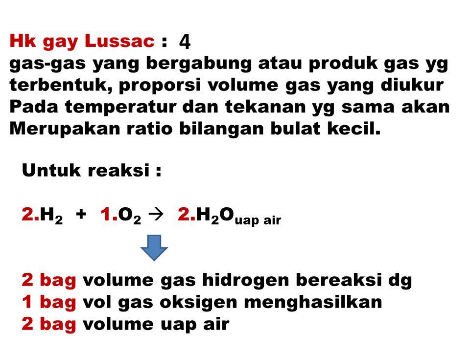 4 Untuk reaksi : 2.H2 + 1.O2  2.H2Ouap air