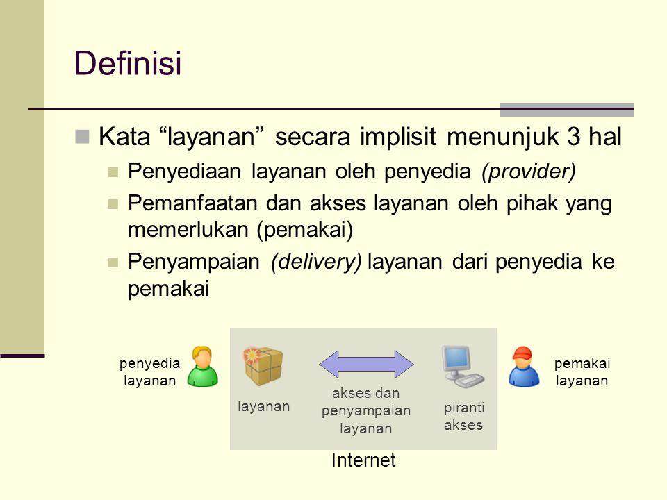 Definisi Kata layanan secara implisit menunjuk 3 hal