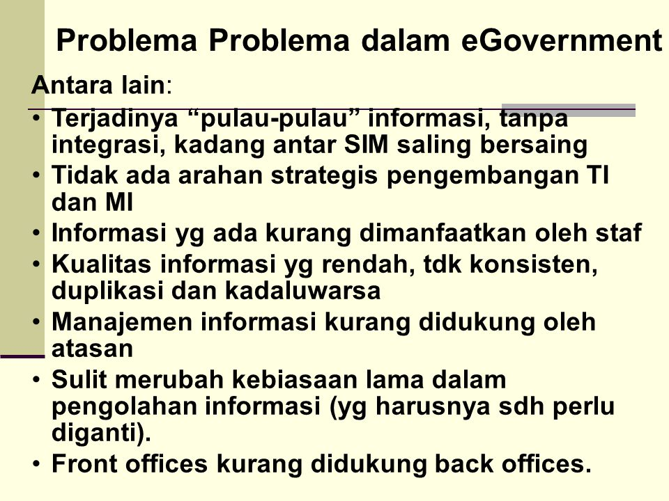 Problema Problema dalam eGovernment
