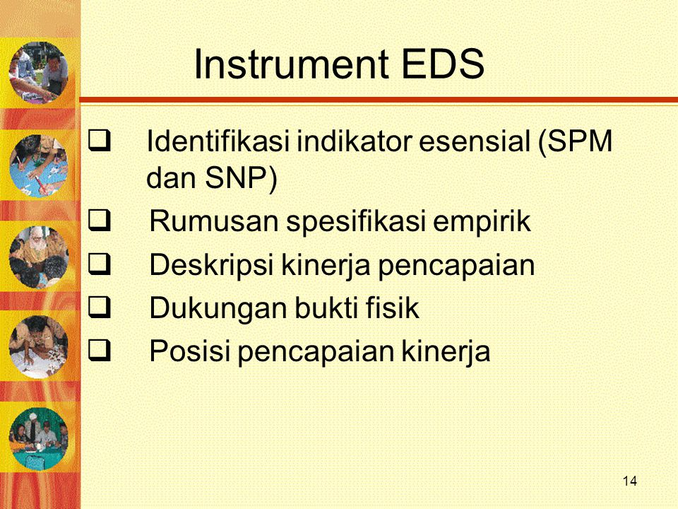Instrument EDS Identifikasi indikator esensial (SPM dan SNP)