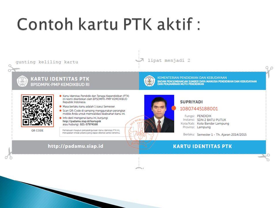Contoh kartu PTK aktif :