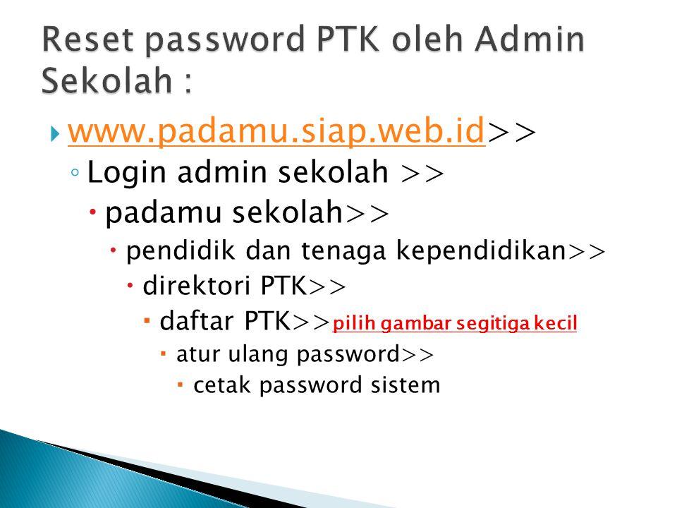 Reset password PTK oleh Admin Sekolah :