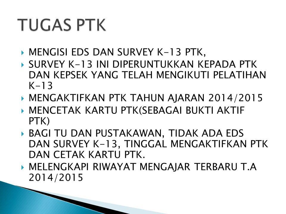 TUGAS PTK MENGISI EDS DAN SURVEY K-13 PTK,