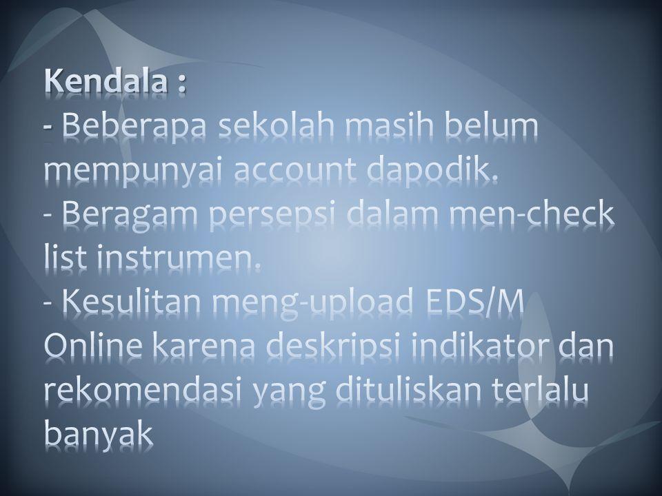 Kendala : - Beberapa sekolah masih belum mempunyai account dapodik