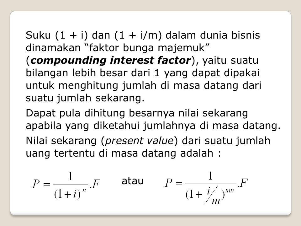 Suku (1 + i) dan (1 + i/m) dalam dunia bisnis dinamakan faktor bunga majemuk (compounding interest factor), yaitu suatu bilangan lebih besar dari 1 yang dapat dipakai untuk menghitung jumlah di masa datang dari suatu jumlah sekarang.