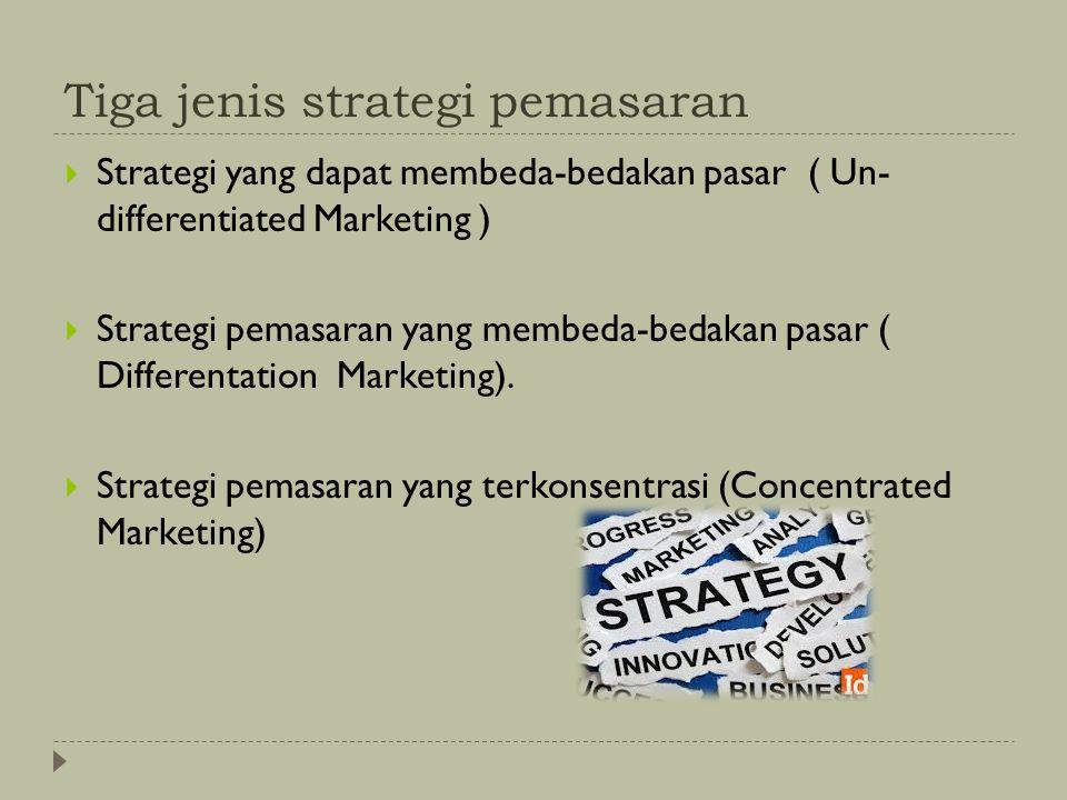 Tiga jenis strategi pemasaran