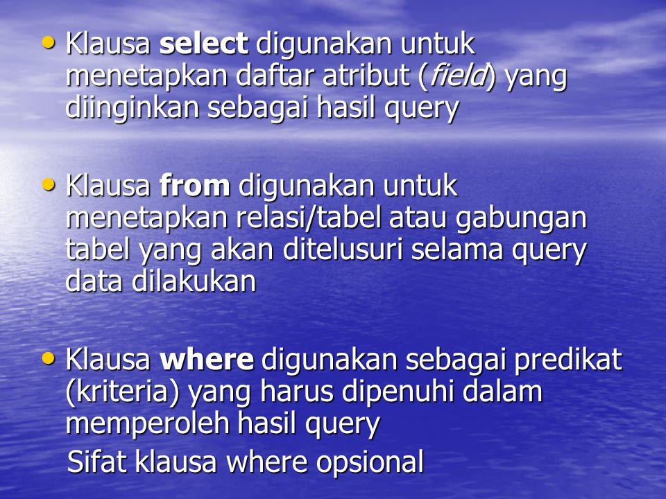 Klausa select digunakan untuk menetapkan daftar atribut (field) yang diinginkan sebagai hasil query