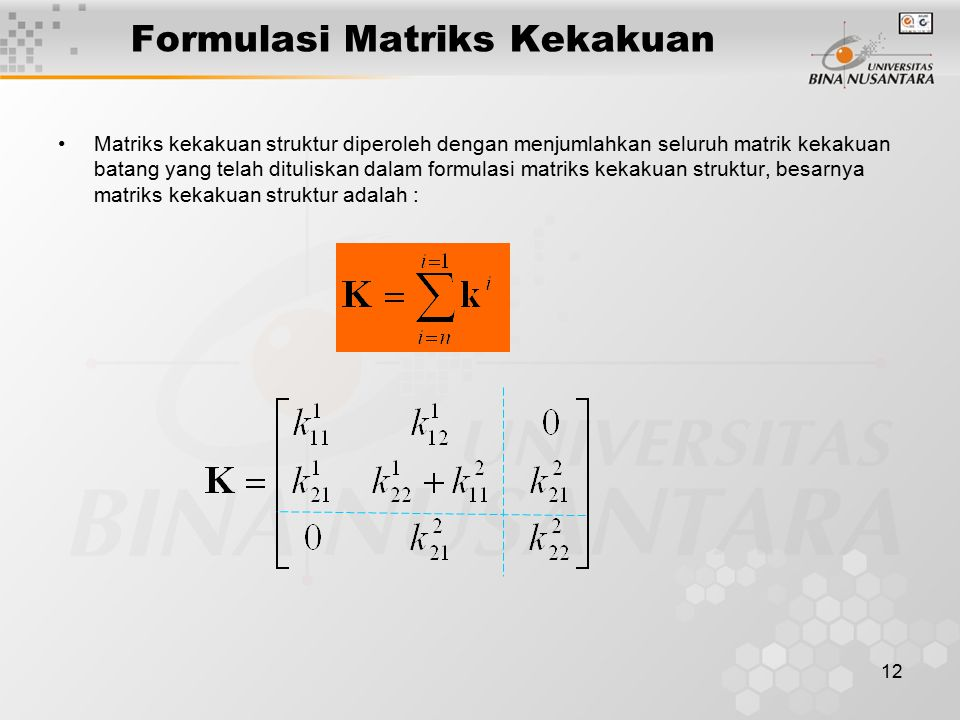 Formulasi Matriks Kekakuan
