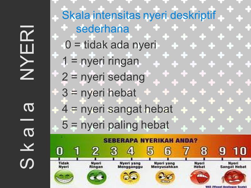 Skala intensitas nyeri deskriptif sederhana 0 = tidak ada nyeri 1 = nyeri ringan 2 = nyeri sedang 3 = nyeri hebat 4 = nyeri sangat hebat 5 = nyeri paling hebat