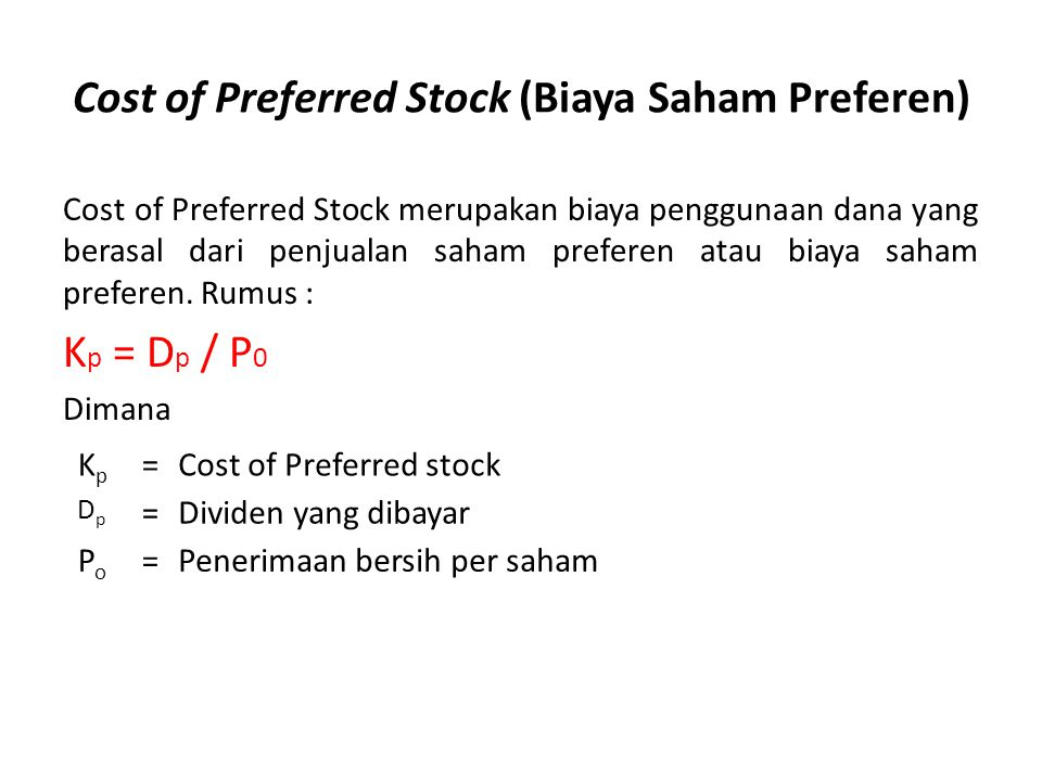 Cost of Preferred Stock (Biaya Saham Preferen)