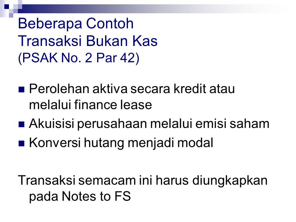 Beberapa Contoh Transaksi Bukan Kas (PSAK No. 2 Par 42)