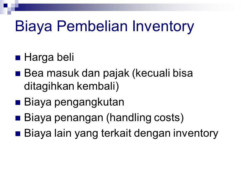 Biaya Pembelian Inventory