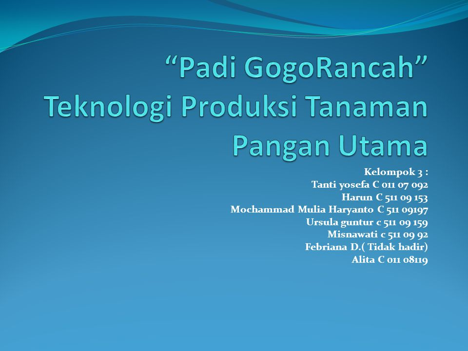 Padi GogoRancah Teknologi Produksi Tanaman Pangan Utama