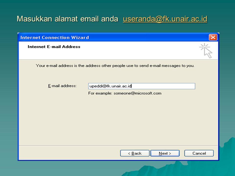 Masukkan alamat email anda useranda@fk.unair.ac.id
