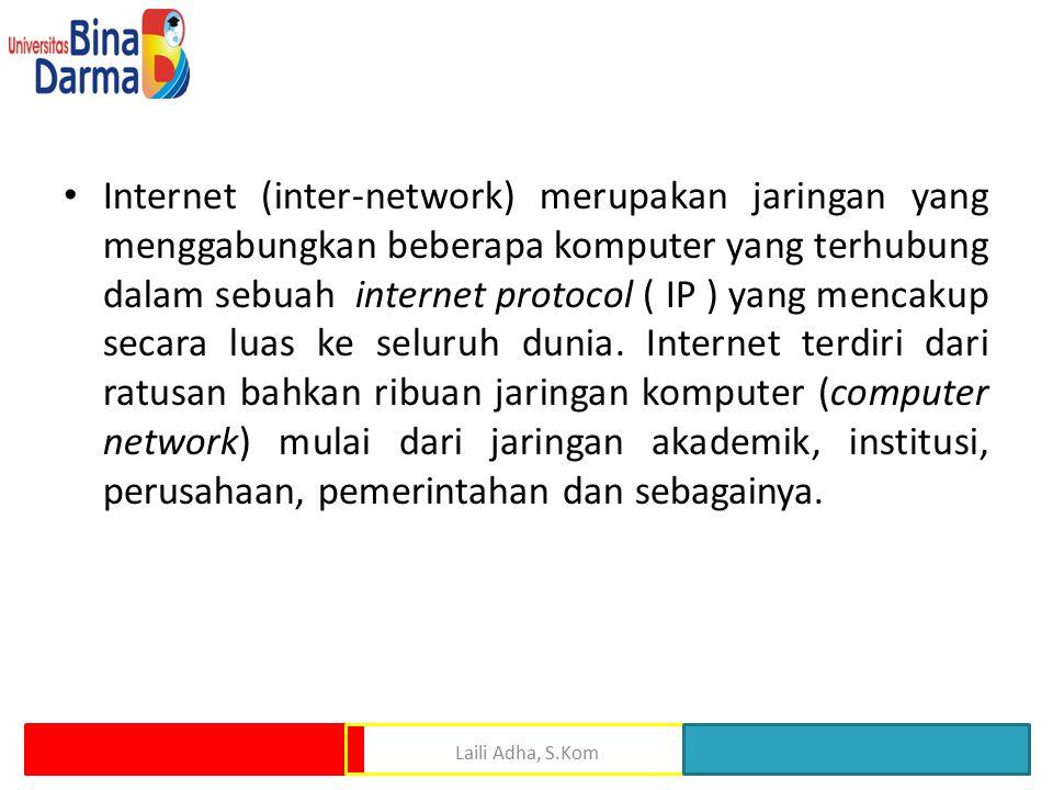 Internet (inter-network) merupakan jaringan yang menggabungkan beberapa komputer yang terhubung dalam sebuah internet protocol ( IP ) yang mencakup secara luas ke seluruh dunia. Internet terdiri dari ratusan bahkan ribuan jaringan komputer (computer network) mulai dari jaringan akademik, institusi, perusahaan, pemerintahan dan sebagainya.