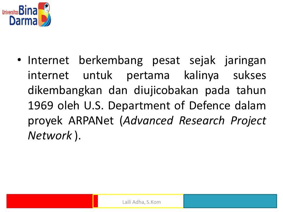 Internet berkembang pesat sejak jaringan internet untuk pertama kalinya sukses dikembangkan dan diujicobakan pada tahun 1969 oleh U.S. Department of Defence dalam proyek ARPANet (Advanced Research Project Network ).