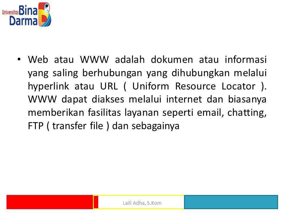 Web atau WWW adalah dokumen atau informasi yang saling berhubungan yang dihubungkan melalui hyperlink atau URL ( Uniform Resource Locator ). WWW dapat diakses melalui internet dan biasanya memberikan fasilitas layanan seperti email, chatting, FTP ( transfer file ) dan sebagainya