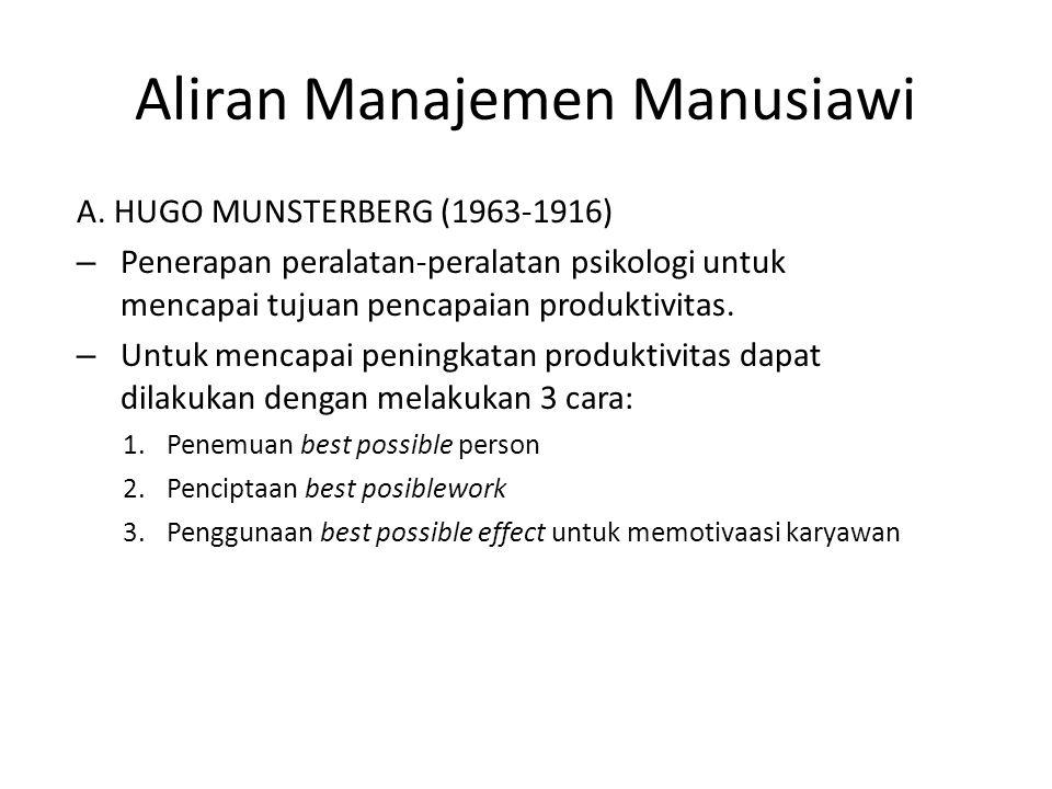 Aliran Manajemen Manusiawi